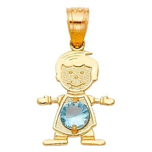 14kY Gold March Birthstone CZ Boy Pendant